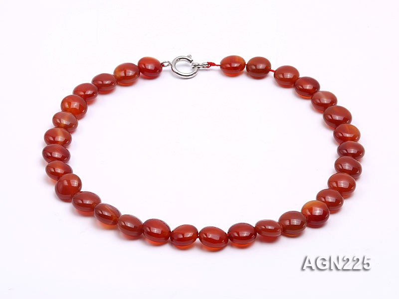 13mm Red Disc-shaped Agate Necklace