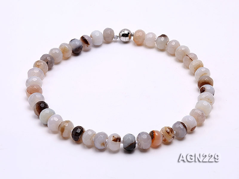 13.5x9mm Wheel-shaped Faceted Agate Necklace