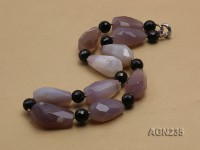 35x20mm Multi-color Irregular Faceted Agate Necklace