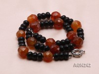 10x6mm Black and Red Agate Necklace