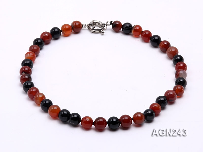 10mm Black and Red Round Agate Necklace