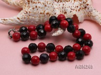 13mm Black Faceted and Red Round Agate Necklace