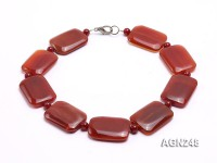 40x30mm Red Rectangular Agate Necklace