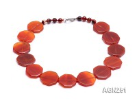 27x27mm Red Polygon Agate Necklace