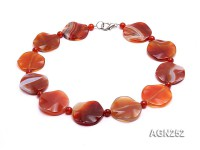 33mm Red Irregular Agate Necklace