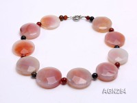 40mm Pink Round Disc-shaped Faceted Agate Necklace