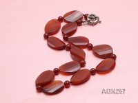28x20mm Red Irregular Faceted Agate Necklace