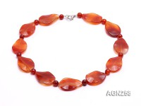 34x23mm Red Irregular Faceted Agate Necklace