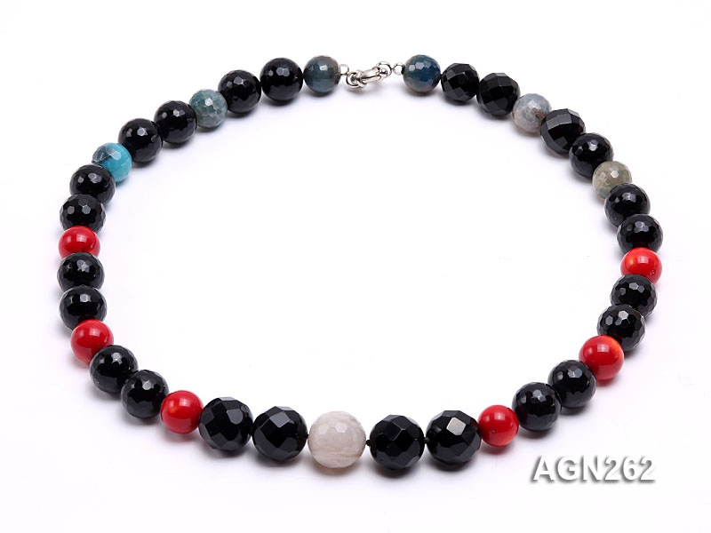 15.5mm Black Faceted Agate Necklace