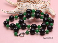 20mm Black Faceted Agate and Malay Jade Necklace