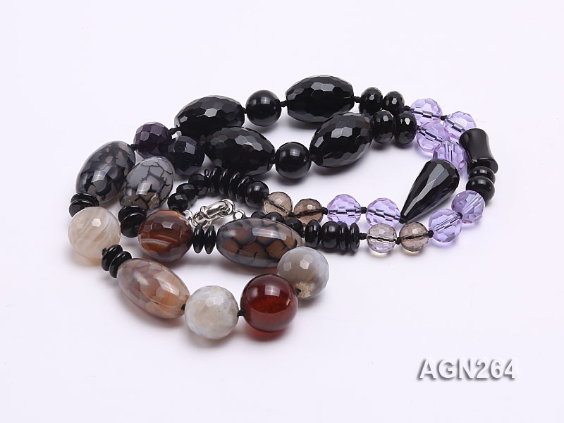 13.5-20mm Black Agate Necklace