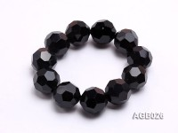 20mm Black Round Faceted Agate Bracelet