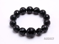 15mm Black Round Faceted Agate Bracelet