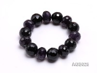 16mm Black Round Faceted Agate Bracelet