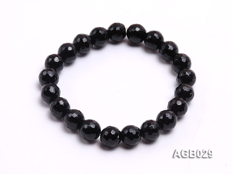 10mm Black Round Faceted Agate Bracelet