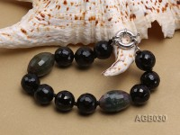 14mm Black Round and Oval Faceted Agate Bracelet
