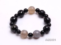 13mm Black Round Faceted Agate Bracelet