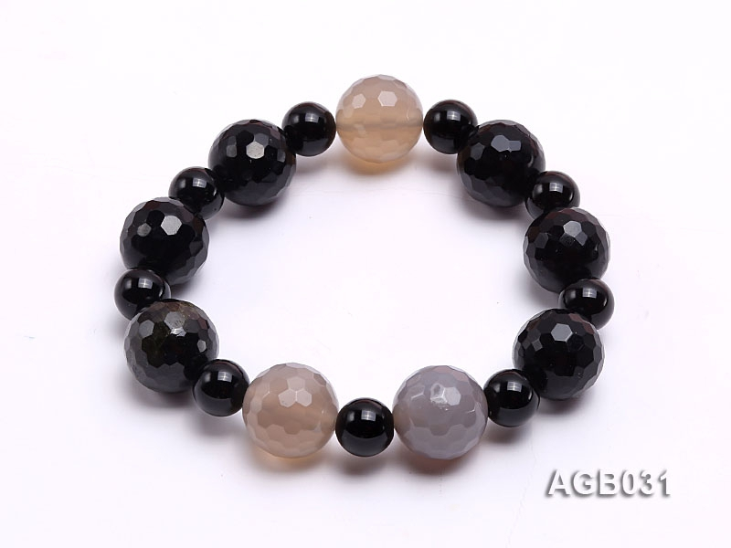 13mm Black Round Faceted Agate Bracelet
