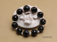 14mm Black Round Faceted Agate Bracelet
