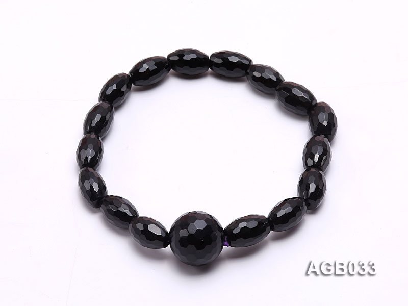 12x8mm Black Oval Faceted Agate Bracelet