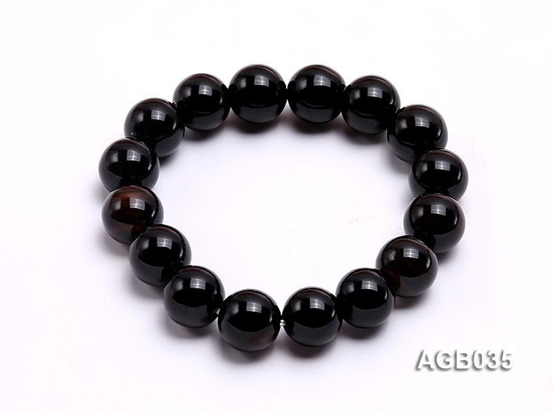 12mm Black Round Agate Bracelet