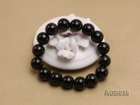 12mm Black Round Agate Bracelet