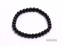 6.5mm Black Round Agate Bracelet