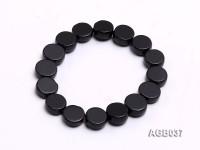 10x4mm Black Round Agate Bracelet
