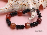 10x6mm Black and Red Agate Bracelet