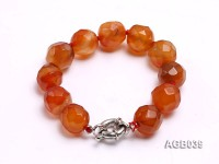 17mm Red Round Faceted Agate Bracelet