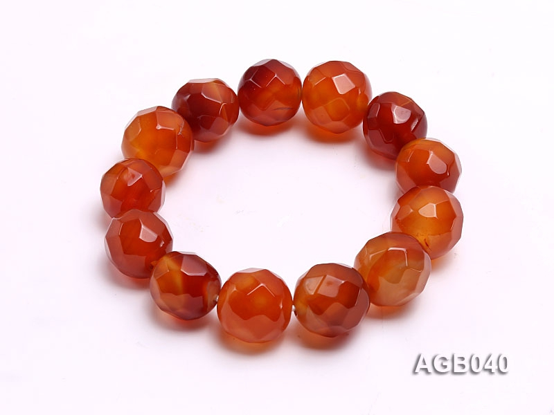 15-17mm Red Round Faceted Agate Bracelet