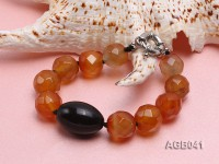 15-17mm Orange Round Faceted Agate Bracelet