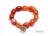 19×13.5mm Orange Oval Agate Bracelet