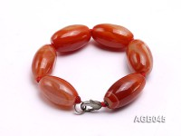 28x16mm Orange Oval Agate Bracelet