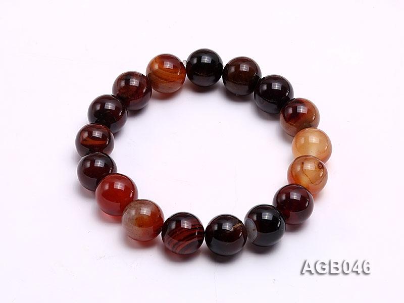 12.5mm Multi-color Round Agate Bracelet