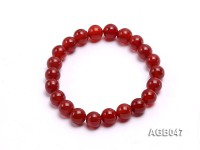 9mm Red Round Agate Bracelet