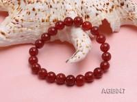 9mm Red Round Agate Bracelet