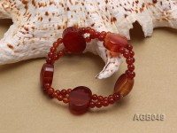 Double-row 5mm Red Agate Bracelet