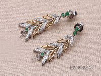 18k Gold Earring Bail Dotted with Emerald Beads and Diamonds