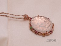 Natural Rose Quartz Pendant Set on a Golden Gilded Bail Dotted with Zircons