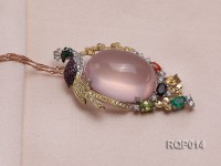 Natural Rose Quartz Pendant Set on a Sterling Silver Bail Dotted with Zircons
