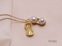 Peanut-shaped White Freshwater Pearl Pendant with a Sterling Silver Chain