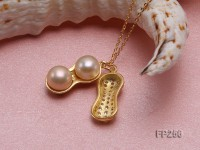 Peanut-shaped Pink Freshwater Pearl Pendant with a Sterling Silver Chain