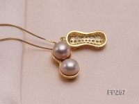 Peanut-shaped Lavender Freshwater Pearl Pendant with a Sterling Silver Chain