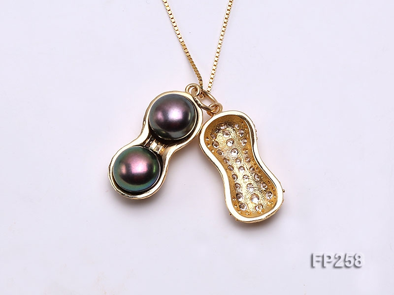 Peanut-shaped Black Freshwater Pearl Pendant with a Sterling Silver Chain