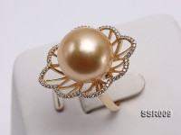 Elegant AAA 15.5mm Shiny Golden South Sea Pearl Ring