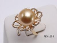 Elegant AAA 15.5mm Shiny Golden South Sea Pearl Ring