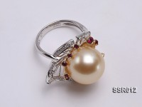 Elegant AAA 15mm Shiny Golden South Sea Pearl Ring