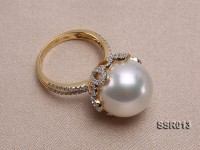 Elegant AAA 15mm Shiny White South Sea Pearl Ring