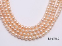 Wholesale 11-12mm Classic Pink Round Freshwater Pearl String
